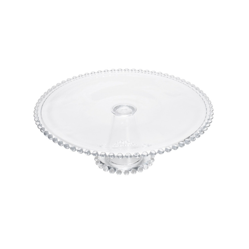 Prato Pequeno para Bolo Cristal Pearl com Pe 21Cm - Wolff