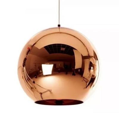 Colgante Vidrio Cobre 15cm Espejo Deco Moderno Apto Led Tom