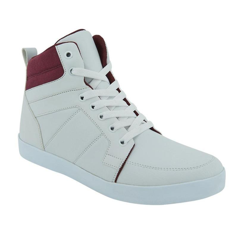 Sneakers Blancos Con Talón Vino 017686