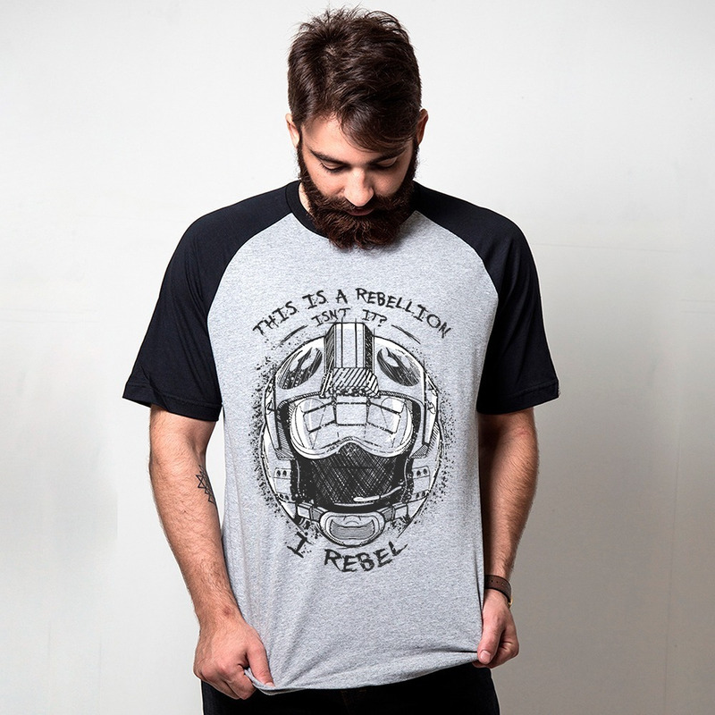 CAMISETA RAGLAN CINZA - REBEL