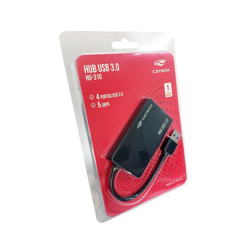 HUB USB 3.0 4 PORTAS C3TECH HU-310BK PRETO