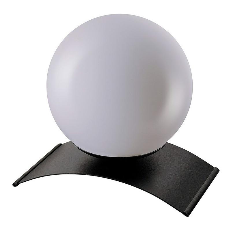 Lampara Velador Globo Opal Base Negra Apto Led E27 Moderno