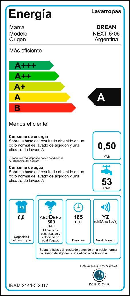 Lavarropas Automático Drean Next 6.06 6kg 600rpm