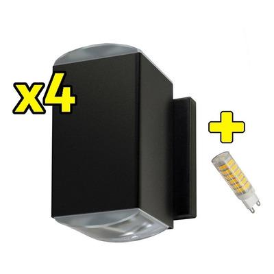 Pack X 4 Bidireccional 2 Lente Óptico Con Led G9 6w Exterior
