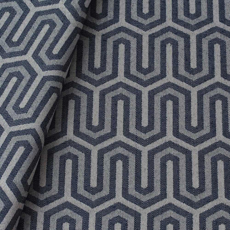Tecido jacquard para almofada - bege/azul marinho - Impermeável - Coleção Panamá