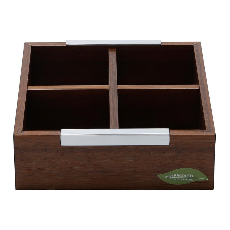 Caixa de Madeira para Chá com 4 Divisórias Naturals - Woodart 31011534