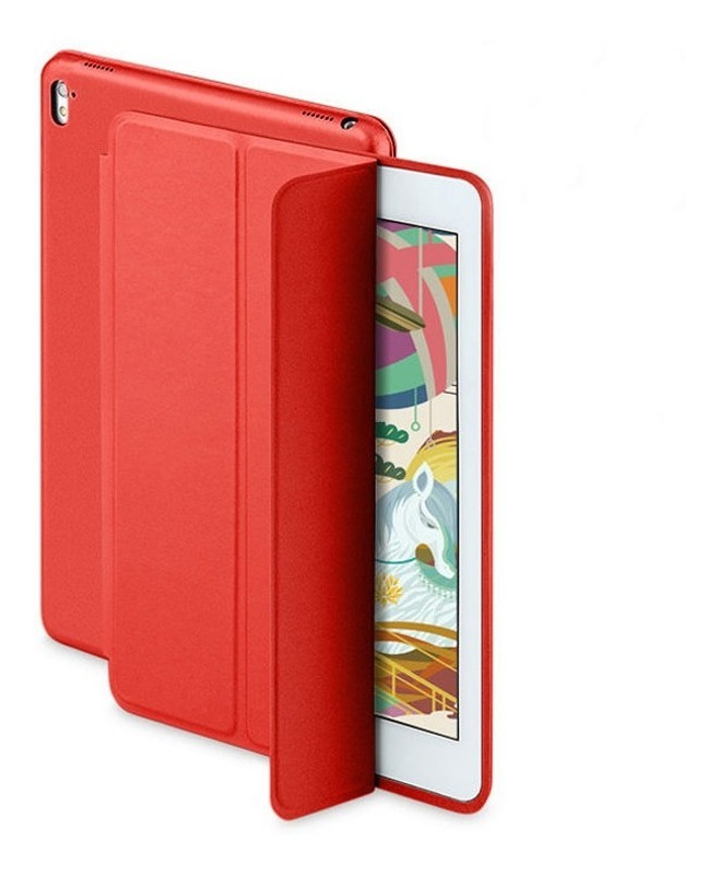 COMBO FUNDA SMART IPAD AIR 2 ROJO (TPU) + VIDRIO TEMPLADO