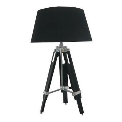 Lampara De Mesa Tripode Madera Oscura De Diseño Apto Led Gmg
