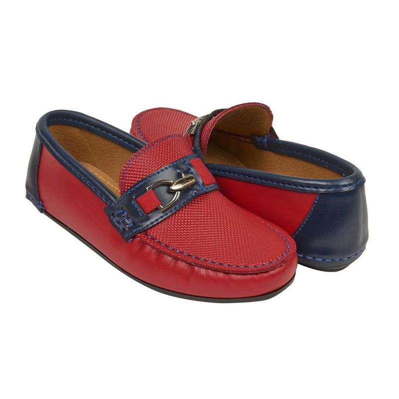 Mocasín rojo y azul con hebilla 018803