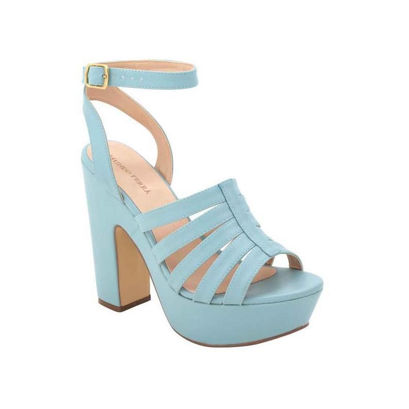 Sandalia tacón azul tiras  016213