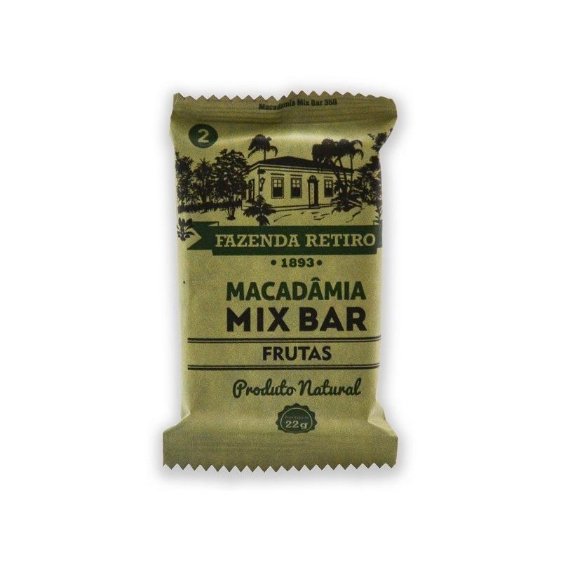 Barra de Macadamia Mix Bar com Frutas 22g - Fazenda Retiro