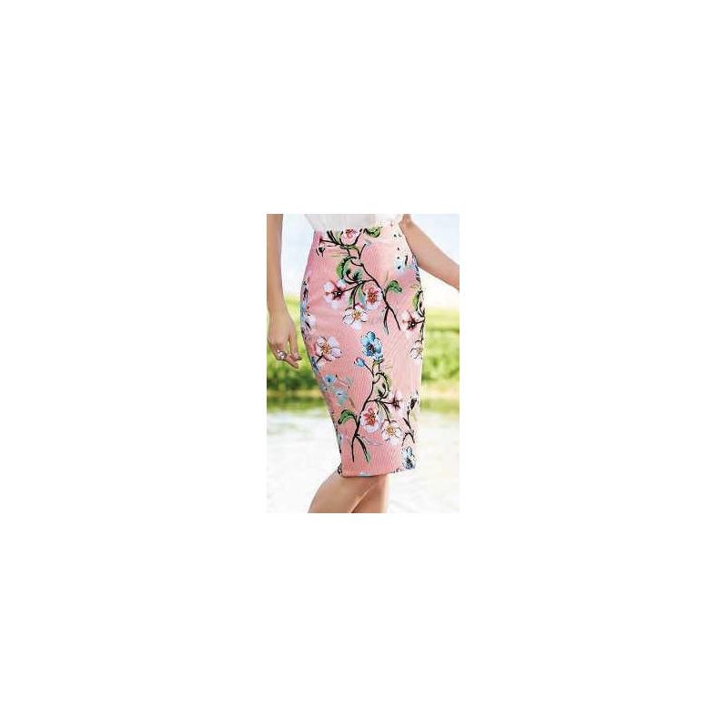 Falda larga rosa estampada 015128