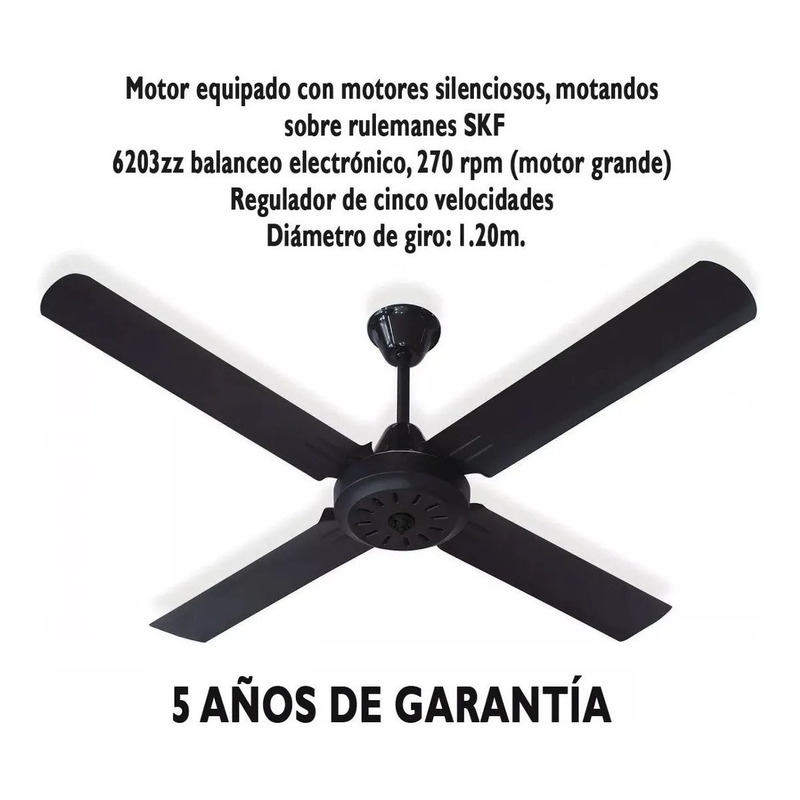 Ventilador De Techo Negro 4 Palas 5 Velocidades Garantía Tg