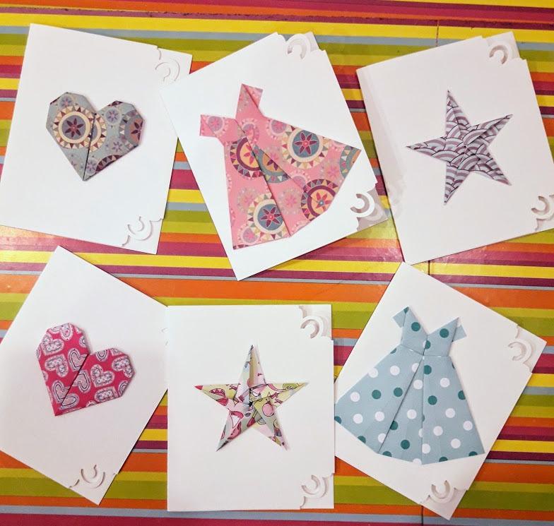 Pack de 6 tarjetas con motivos en origami