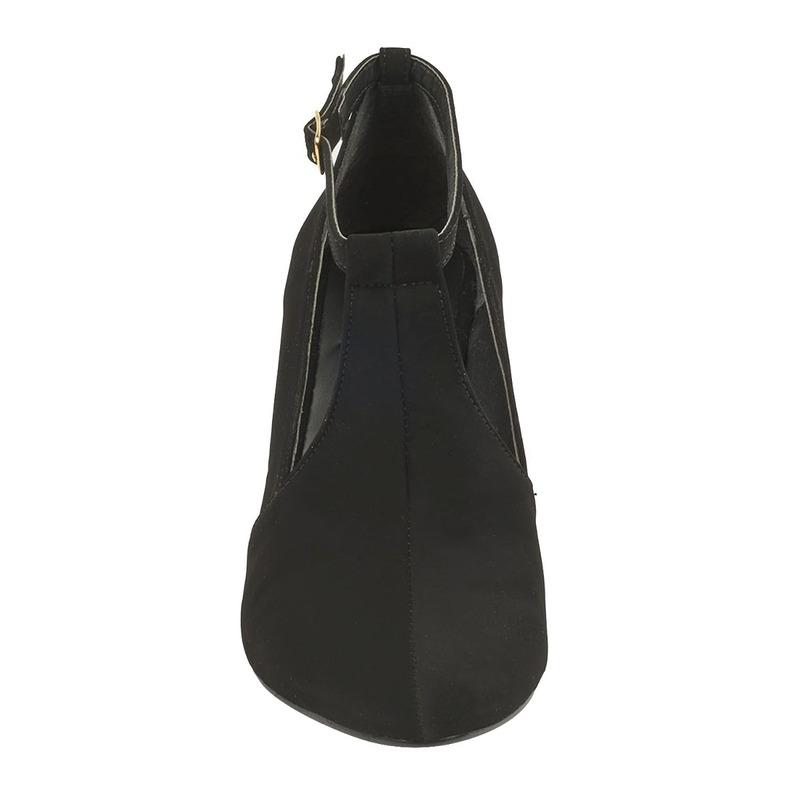 Zapatilla tacón negra hebilla  016483