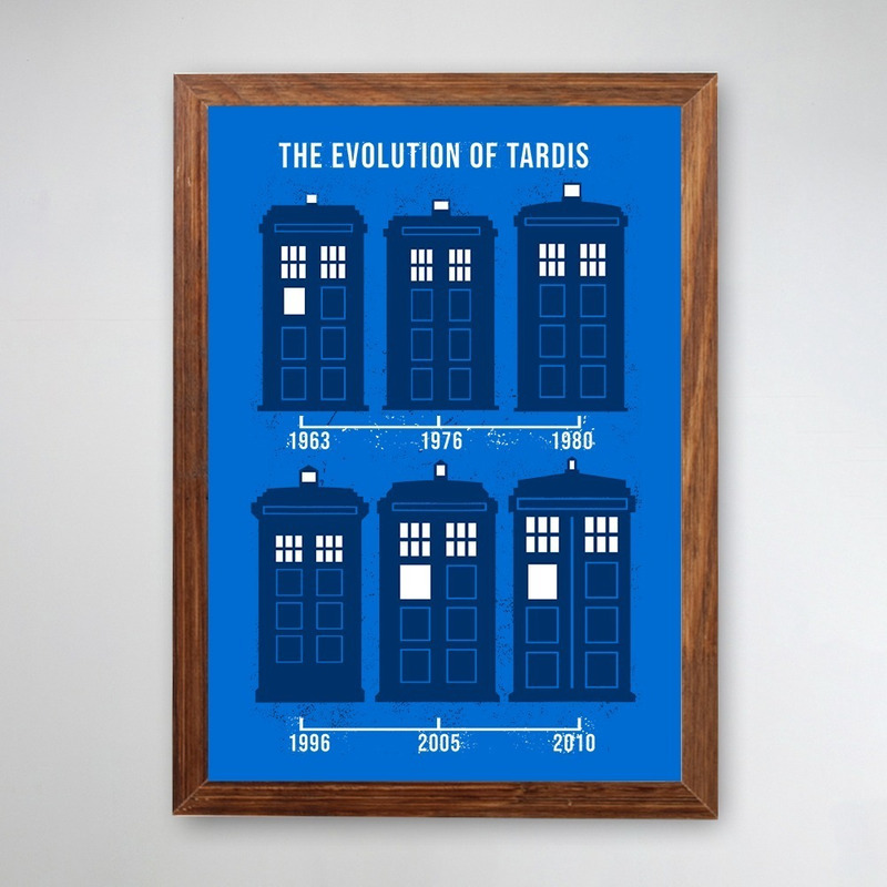 PÔSTER COM MOLDURA - EVOLUTION OF TARDIS