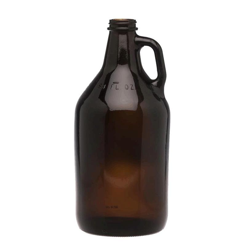 Growler/Botellon  vidrio Amber natural Cerveza  1.9L  Tapa metálica.