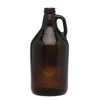 Caja 12 unidades Growler/Botellón  vidrio Amber natural Cerveza  1.9L  Tapa metálica.