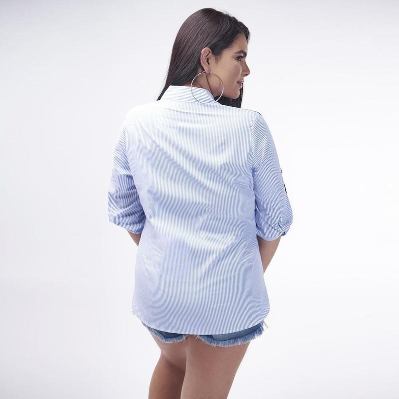 Blusa Azul Con Lineas 017100