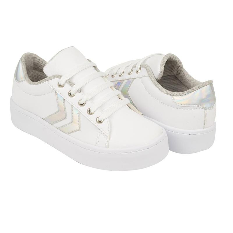 Sneakers blancos franjas multicolor 018847