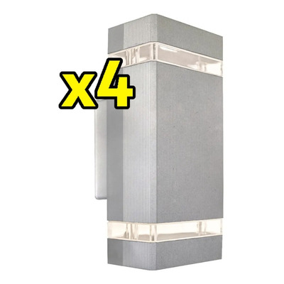 Pack X 4 Bidireccional Aluminio Gris Gu10 Apto Led Moderno