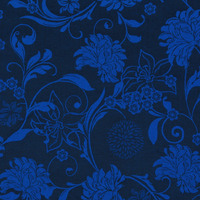 Tecido jacquard floral - preto/azul - Impermeável - Coleção Panamá
