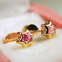 6ffead0c89f6 Comprar Par Aritos Abridores Oro 18k Estrella Cubic Colores Bebe