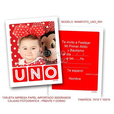 Mamifoto Invitacion Bebe Varon Primer Añito Mickey Minnie Book de Fotos