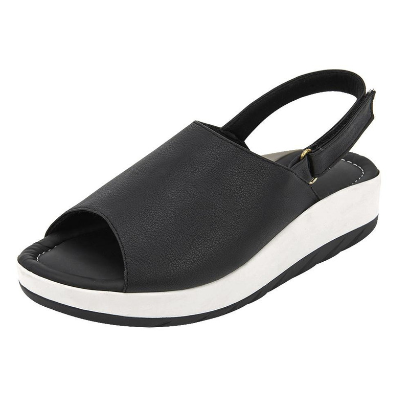 Sandalia De Plataforma Negra Con Blanco 020980