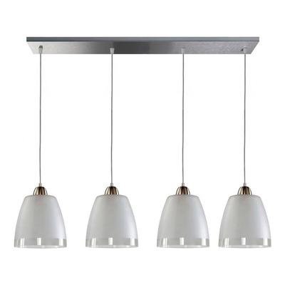 Colgante 4 Luces Moderno Deco Apto Led Vidrio Y Acero