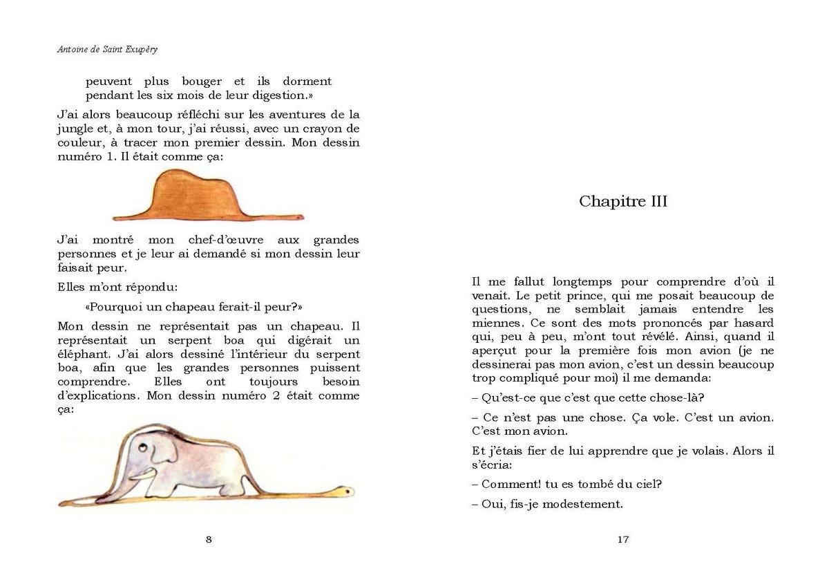 Le Petit Prince ( El Principito en Frances). Saint Exupery