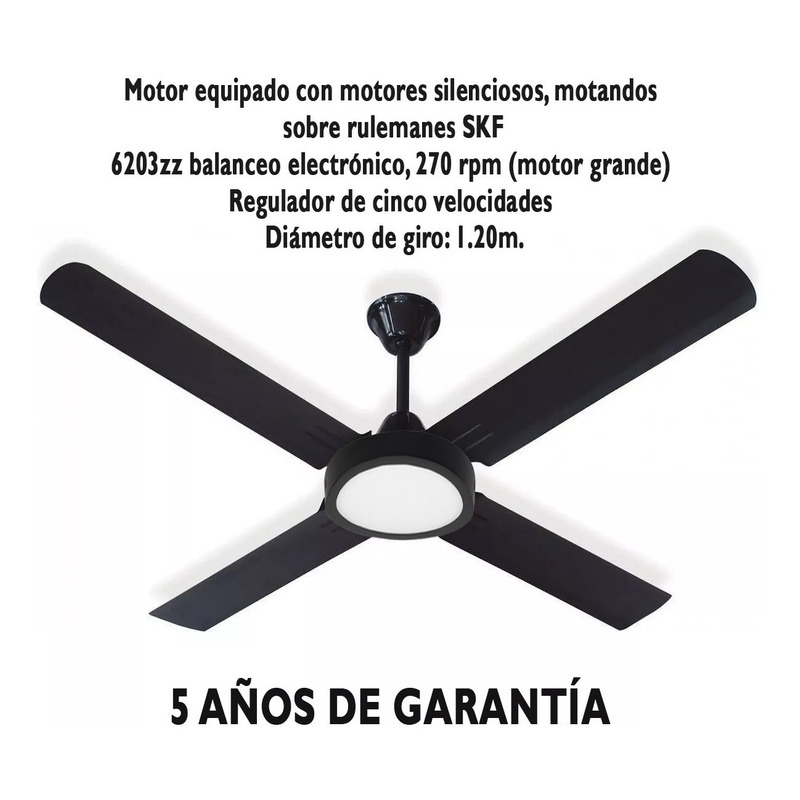 Ventilador De Techo Negro Garantía + Panel Led 18w Tg