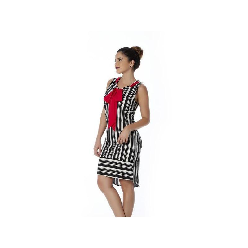 Vestido corto blanco y negro con moño 010583