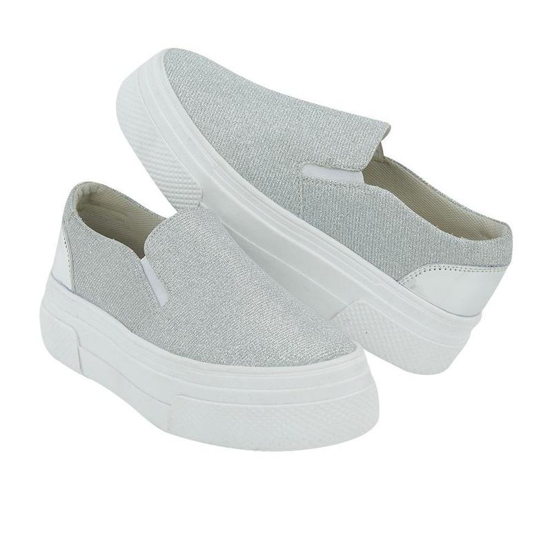Sneakers Plata Con Plataforma 020875
