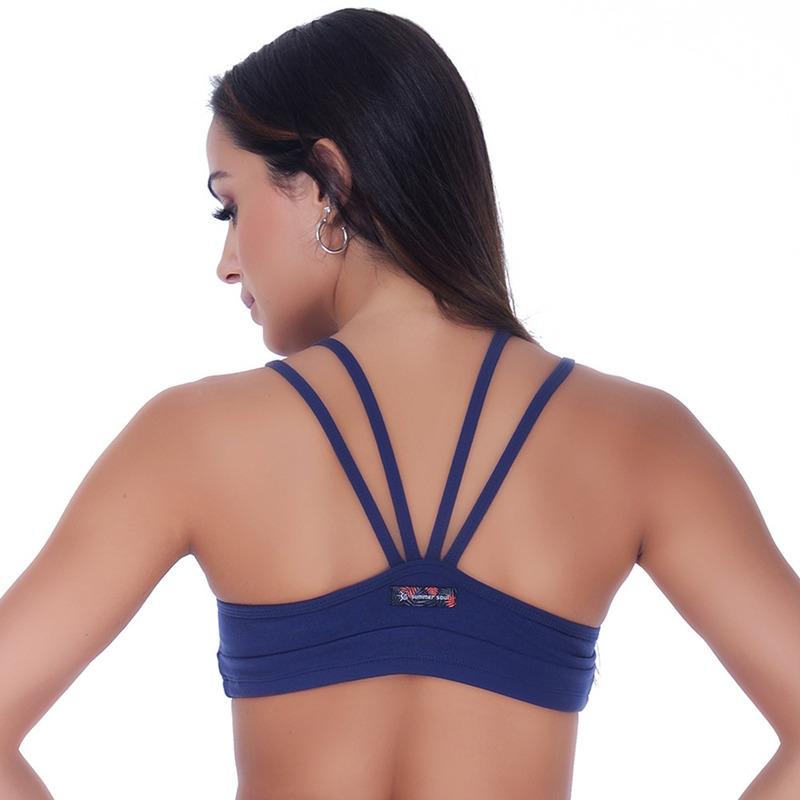 Top Summer Soul Strappy Fitness Azul Marinho