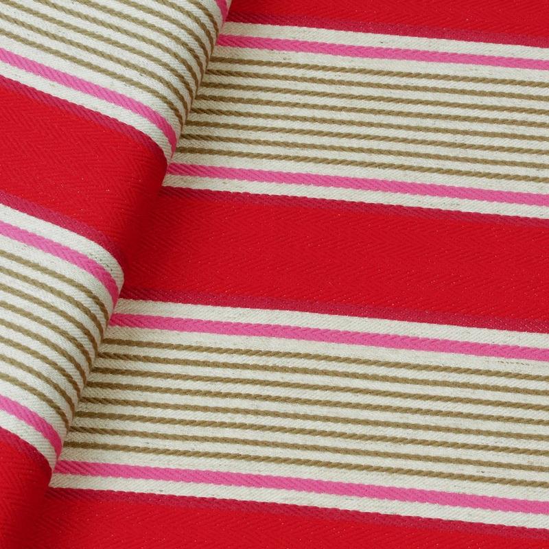 Tecido para sofá Chevron listrado vermelho Coleção Vicenzza