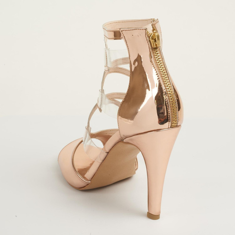 Sandalia tacón oro rosado con pulseras 016427