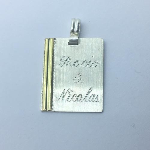 c955ad261131 ... comprar Dije Medalla P grabar 22x26mm C grabado Y Cadena Plata Y Oro ...
