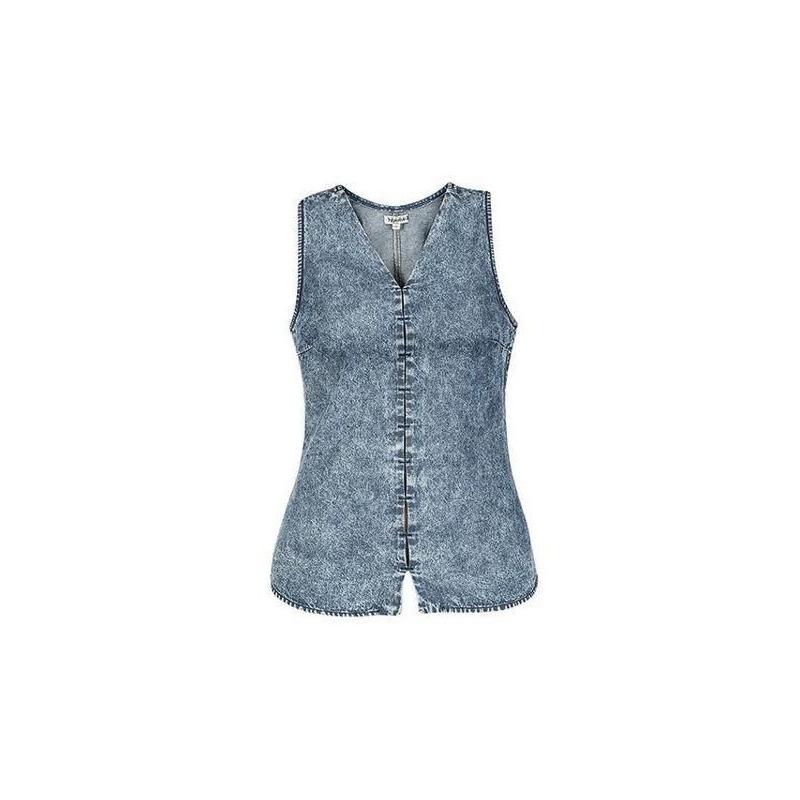 Blusa azul mezclilla sin manga 012377
