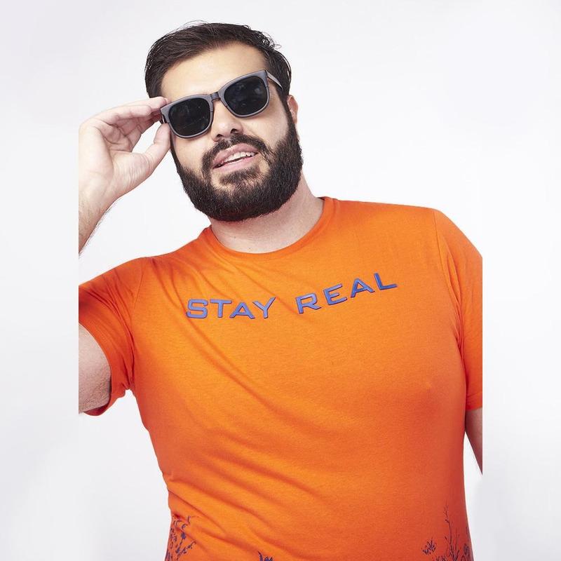 Camisa Naranja Con Detalle Azul 019300
