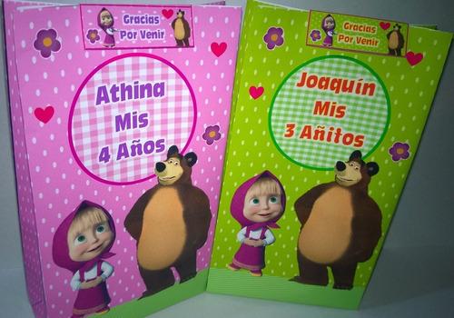 Invitacion Tarjeta Masha Y El Oso Bolsita Golosinera En