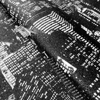 Tecido corino skyline arranha céu preto e branco Larg. 1,40 m