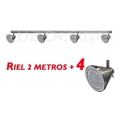 Riel 2 Metros 4 Spot Acero Conico Apto Led Ar111 Luz Desing