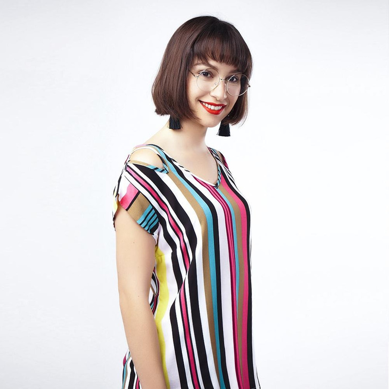Blusa Multicolor A Lineas 017176