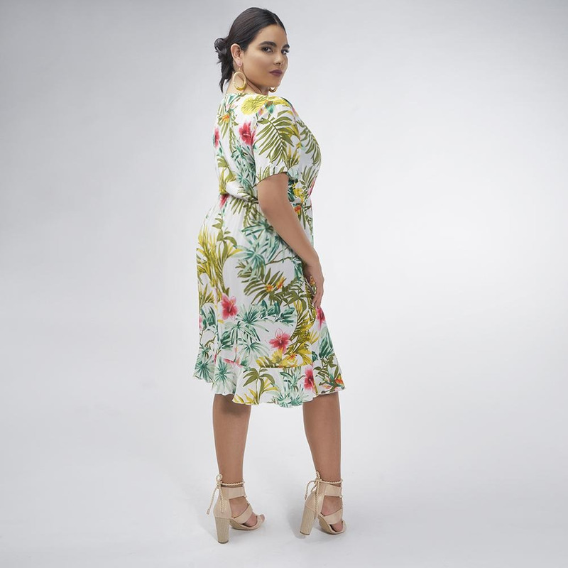 Vestido Blanco Con Estampado Floral 017223