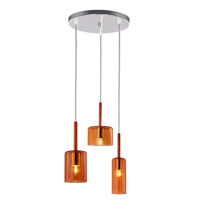 Colgante 3 Luces Base Cromo Wide Fat Tall Ambar Led Moderno