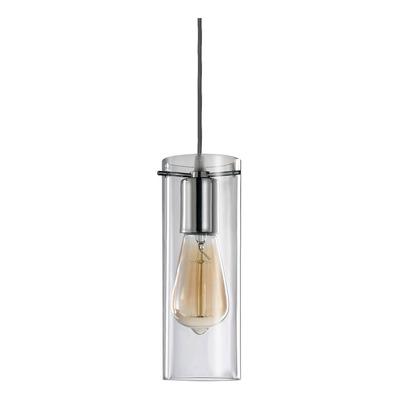 Colgante 1 Luz Cromo Deco Apto Led Cilindro Transparente