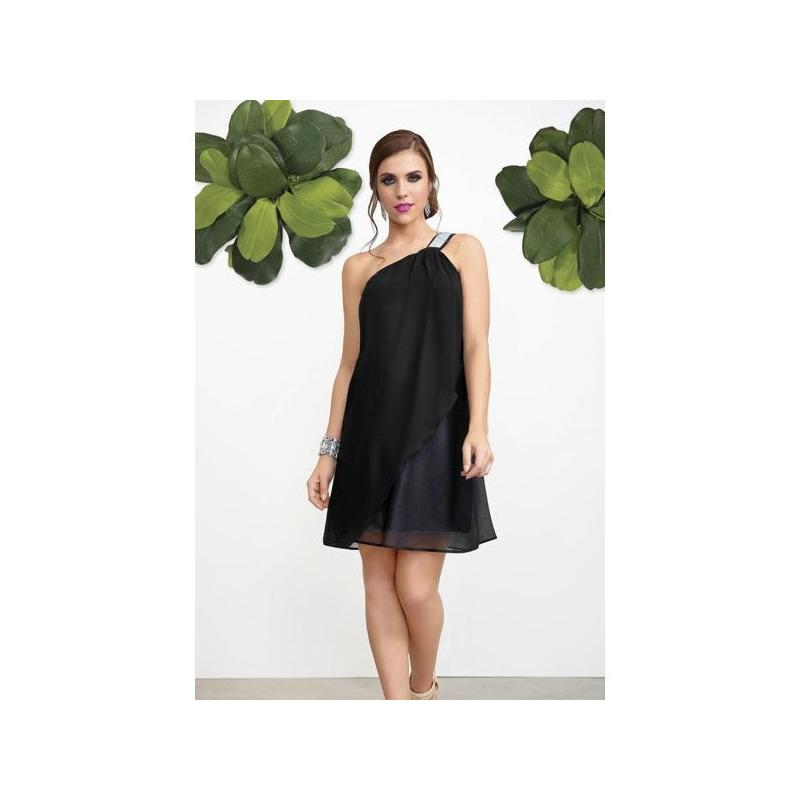 Vestido corto negro con tirantes plata 013117