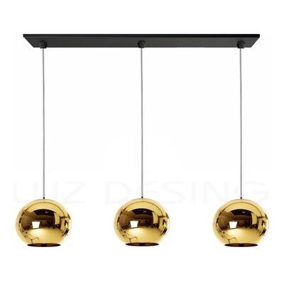 Colgante 3 Luces Tom Globo Oro Vidrio Tendencia Moderno