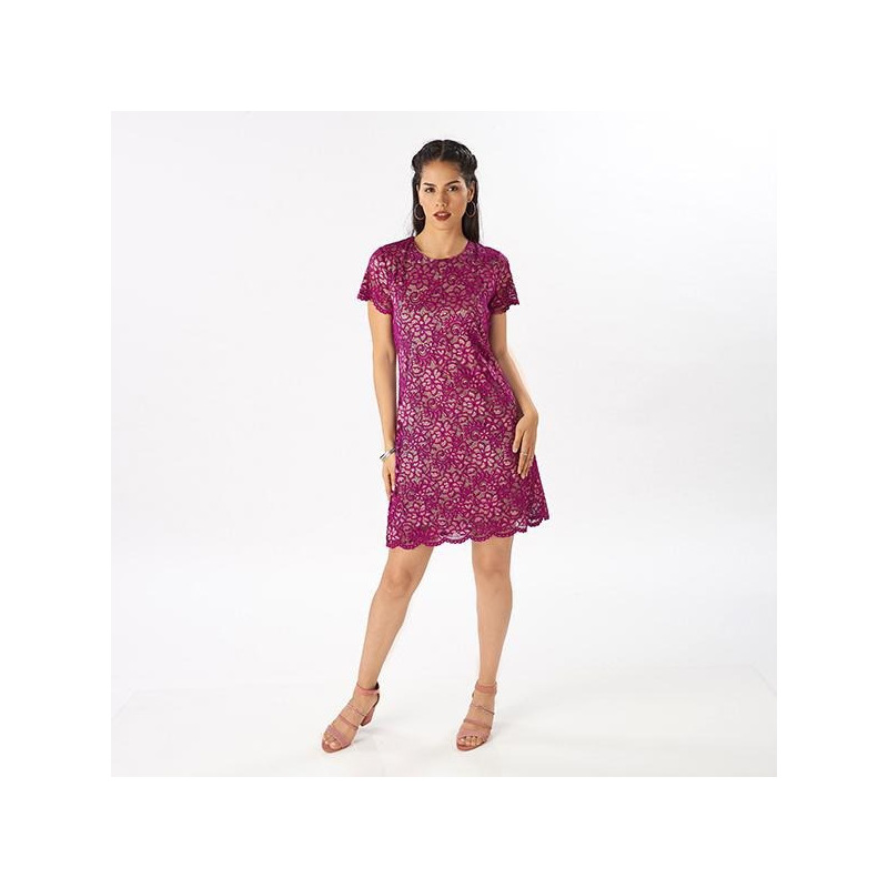 Vestido corto morado encaje  019126